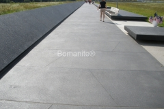 Bomanite of Central Pennsylvania skillfully installed this stunning walkway using Bomanite Revealed decorative concrete, incorporating beautiful aggregates and strategic saw cuts that complement the black precast concrete walls that mark the northern edge of the larger crash site and debris field at the Flight 93 National Memorial Plaza.